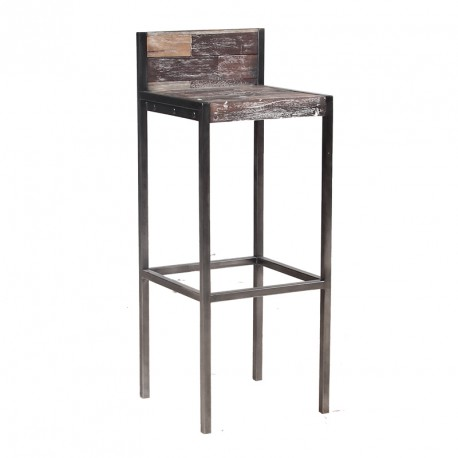 tabouret haut en bois avec dossier univers du salon tousmesmeubles. Black Bedroom Furniture Sets. Home Design Ideas