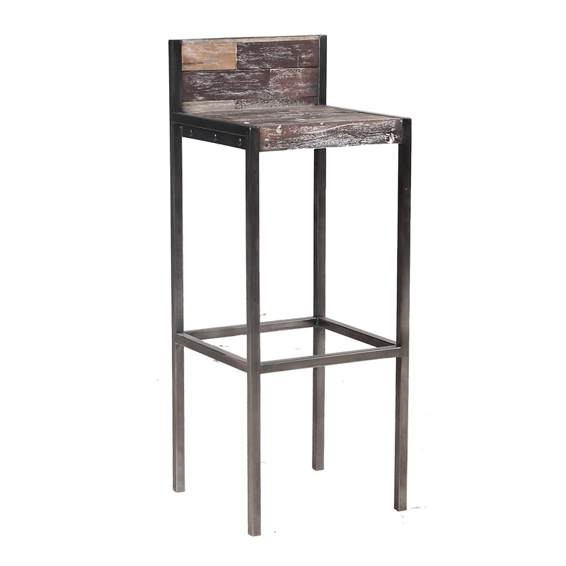 tabouret haut en bois avec dossier univers du salon. Black Bedroom Furniture Sets. Home Design Ideas