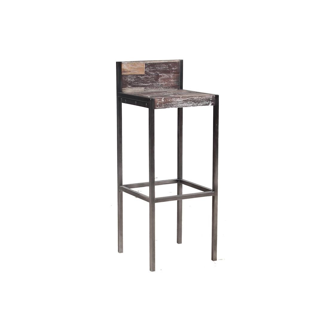 Tabouret haut en bois avec dossier univers du salon for Tabouret de cuisine en bois