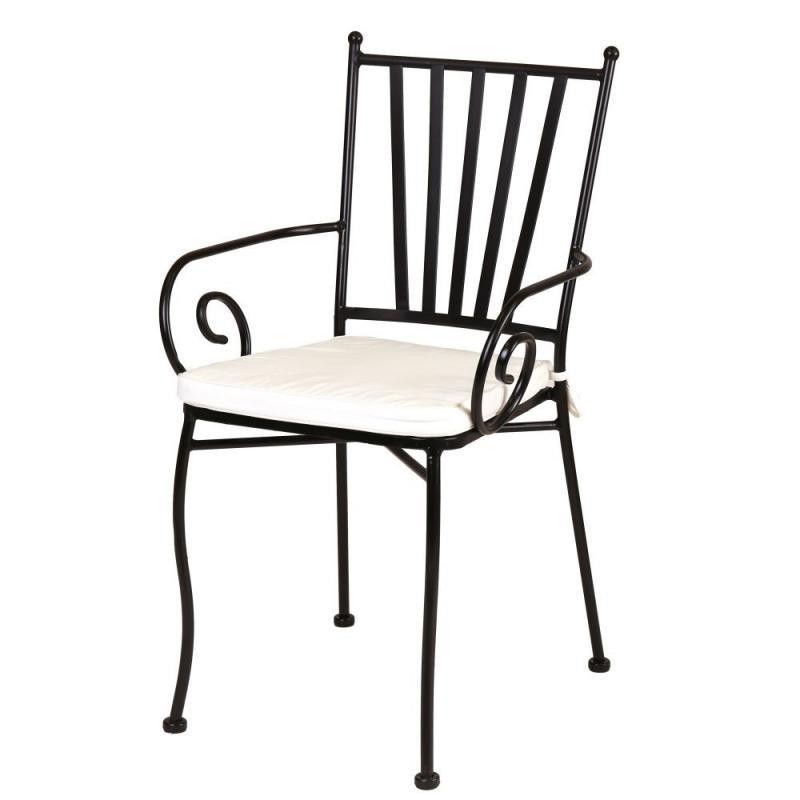 Chaise Fer noir avec accoudoirs et coussin - EMBUDU