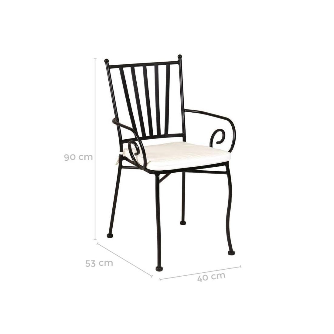 Chaise fer forg noir avec accoudoirs et coussin embudu - Chaise en fer forge pour jardin ...