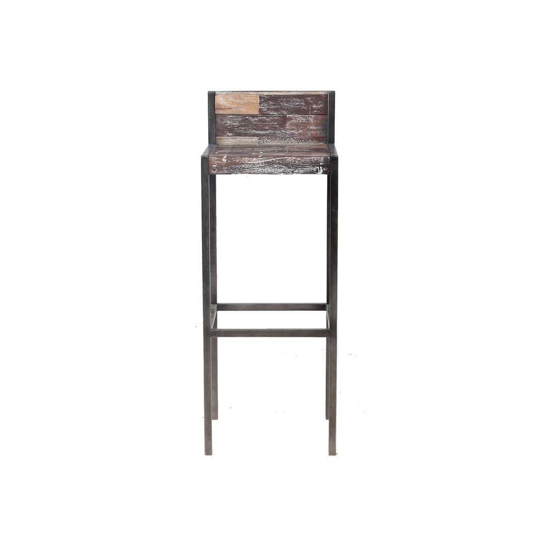 tabouret haut en bois avec dossier univers du salon tousmesmeubles. Black Bedroom Furniture Sets. Home Design Ideas