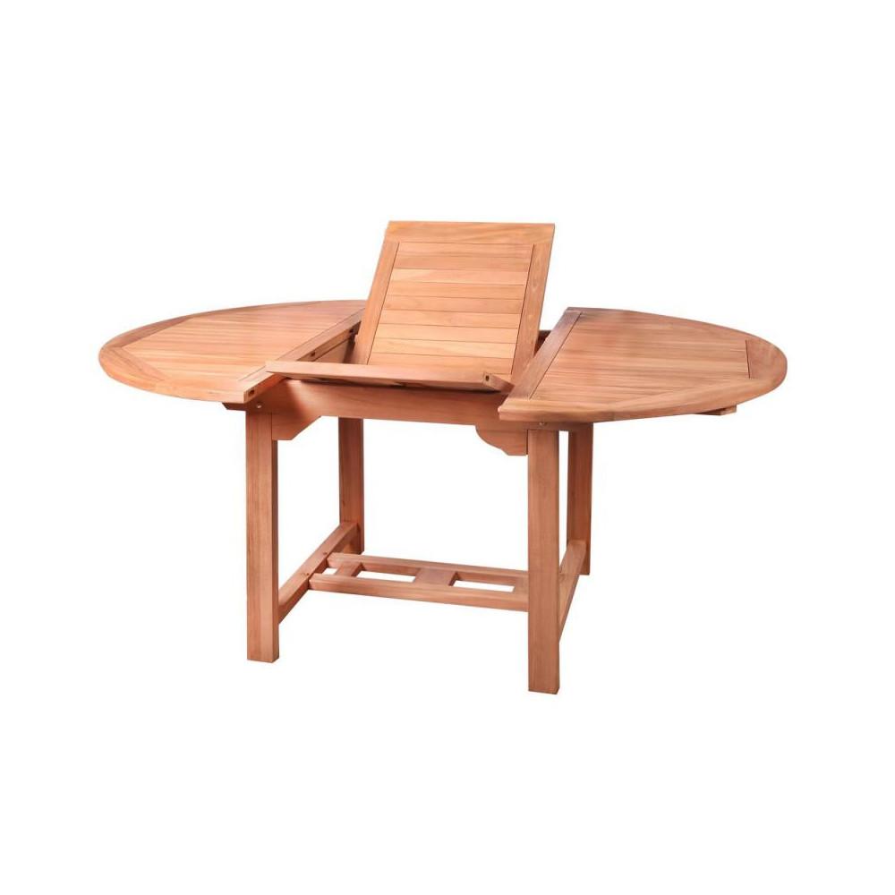 Table de repas ronde à allonge Bois de teck HALAVELI-Univers ...