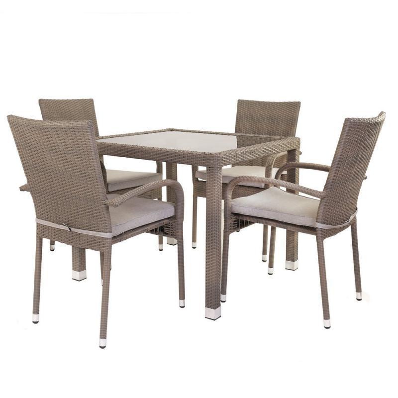 Ensemble Table & Chaises Rotin synthétique - BAROS n°1