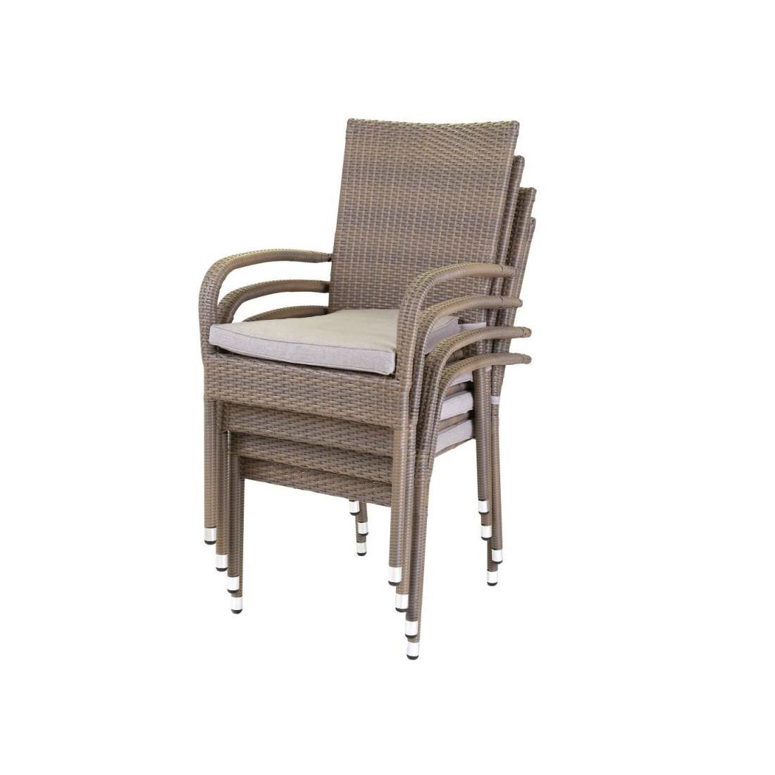 Ensemble table chaises rotin synth tique baros n 2 - Table et chaise de jardin plastique ...