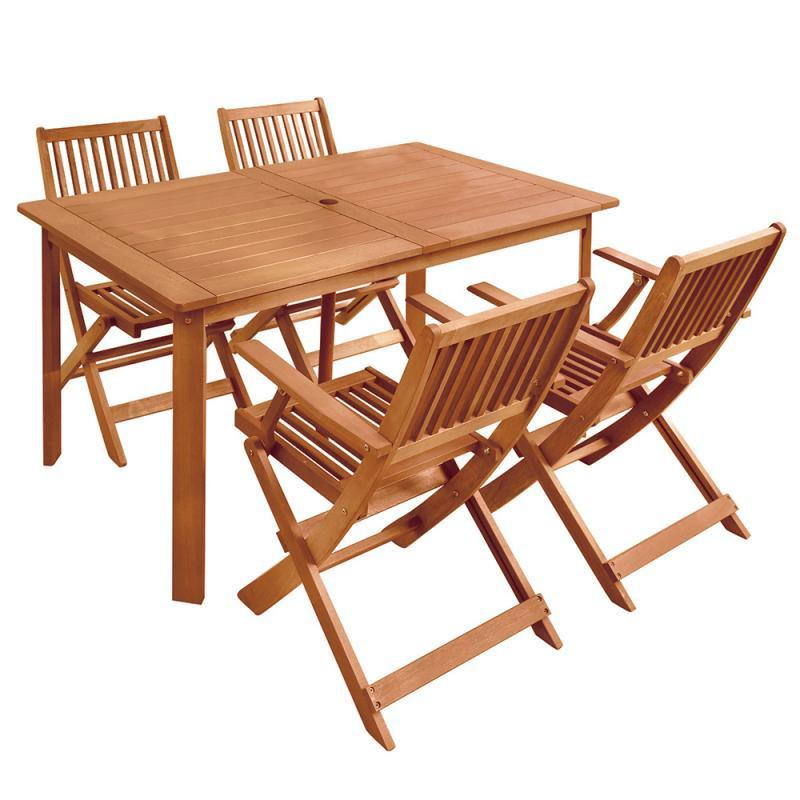 Ensemble Table & Chaises avec accoudoirs en Bois - MOOFUSHI