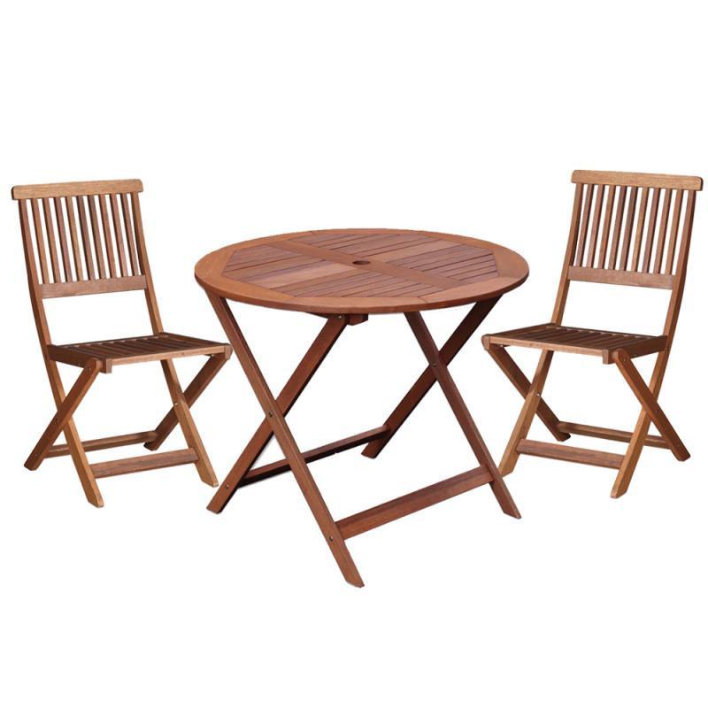 Ensemble Table ronde & Chaises en Bois - MOOFUSHI
