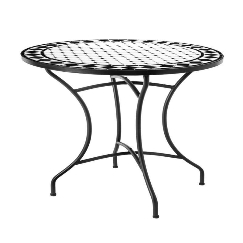 Table de repas ronde Fer/Céramique noir et blanc - MIRIHI