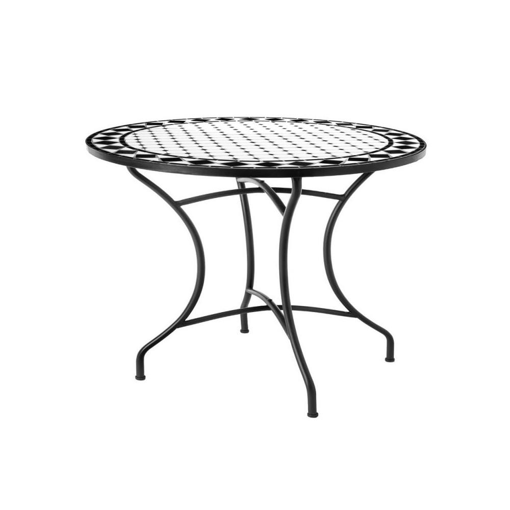 Table de repas ronde Fer/Céramique noir & blanc MIRIHI ...