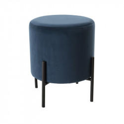 Pouf rond Velours Bleu contemporain - Univers Assises et Salon : Tousmesmeubles