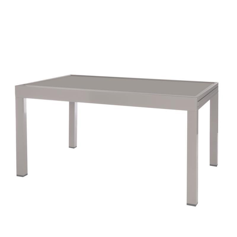 Table de repas à allonge Acier gris/Verre - VADO