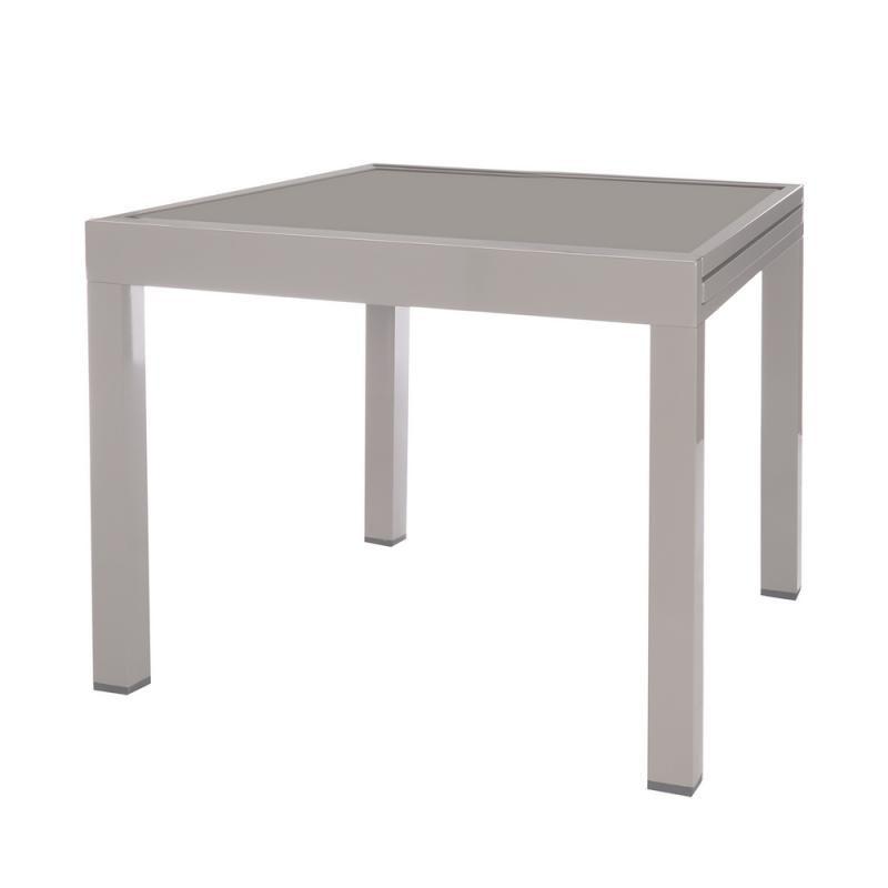 Table de repas carrée extensible Acier/Verre gris - VADO