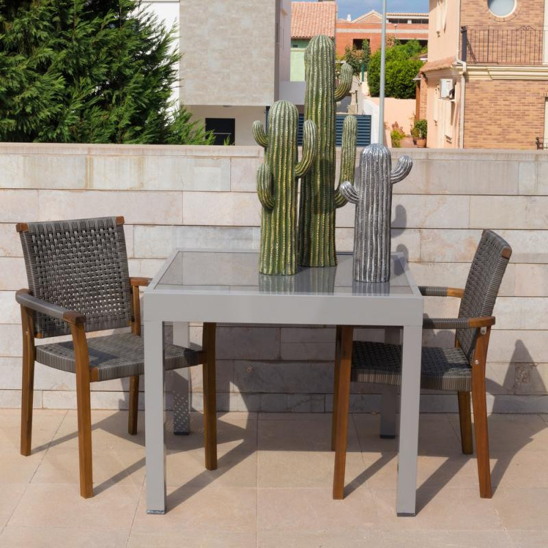 table de repas carr e extensible acier verre gris vado n 1. Black Bedroom Furniture Sets. Home Design Ideas