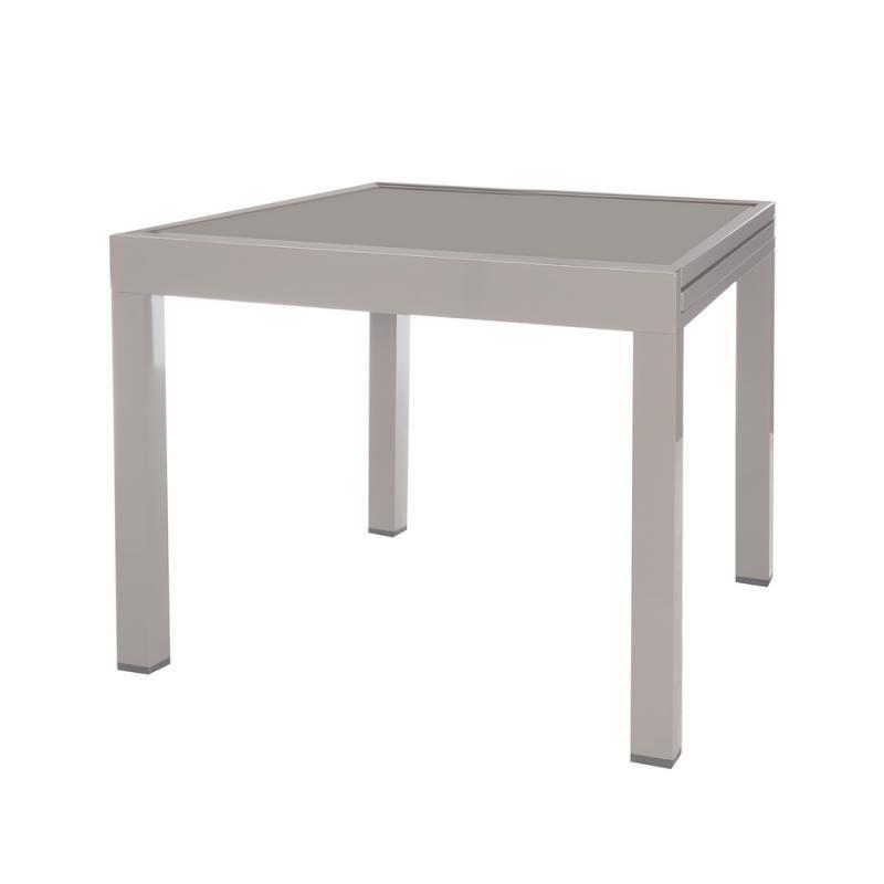 Table de repas carrée extensible Acier/Verre gris - VADO n°2