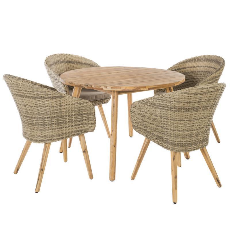 Ensemble Table ronde & Chaises Bois/Rotin - HURAA