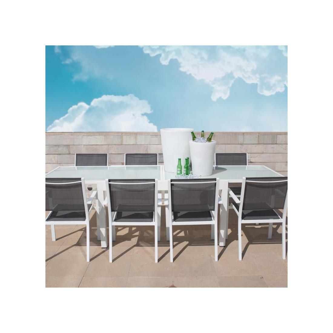 table de repas carr e extensible acier verre blanc vado. Black Bedroom Furniture Sets. Home Design Ideas