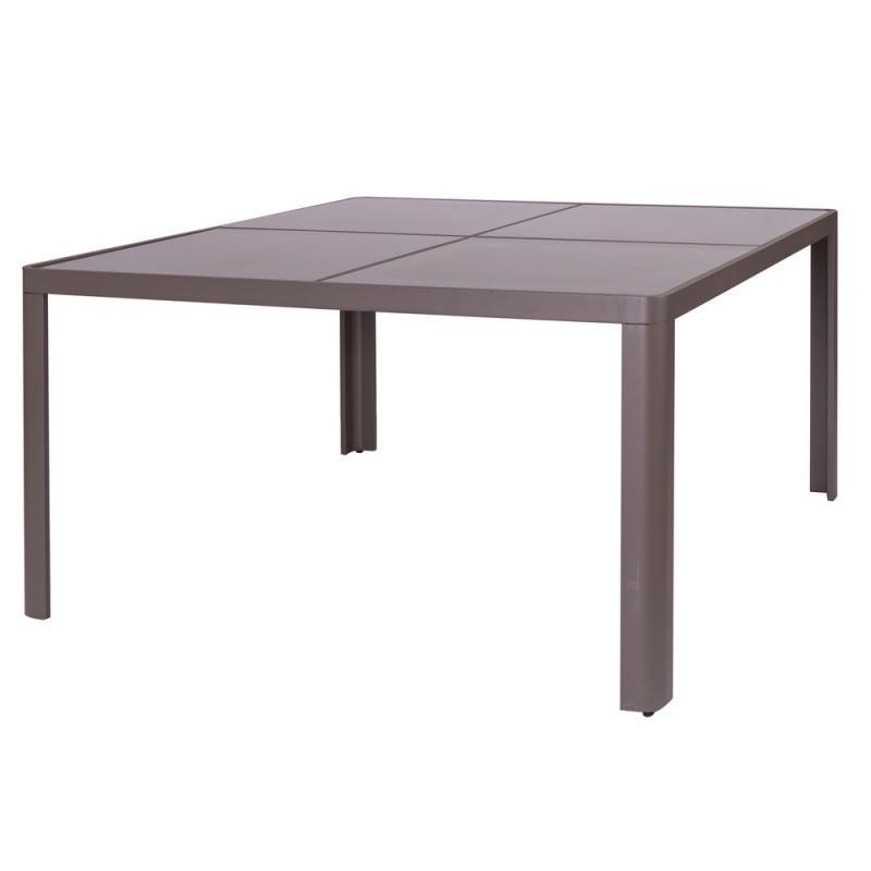 Table de repas carrée Aluminium/Verre - FLORES