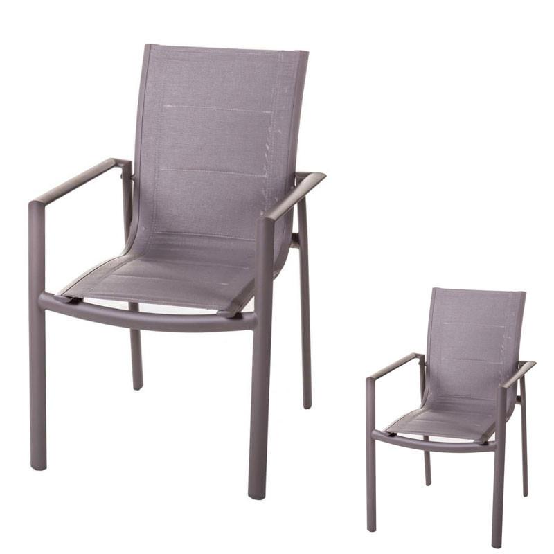Duo de Chaises à accoudoirs Aluminium/Textilène - FLORES