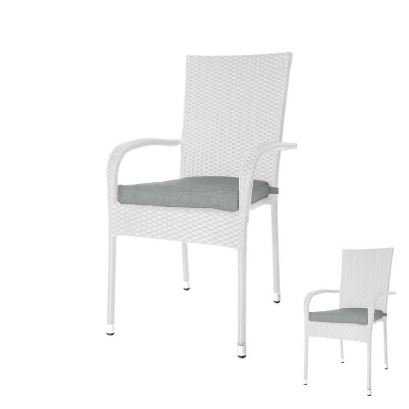 Duo de Chaises Rotin blanc et coussins - BAROS