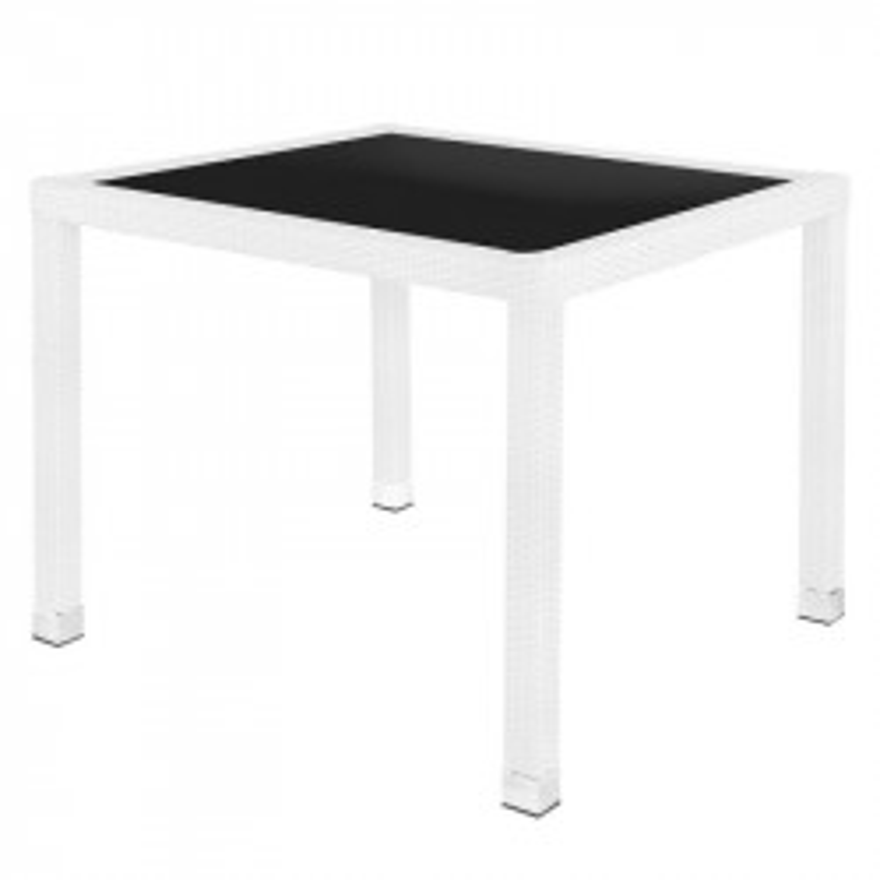 Table de repas carrée Rotin blanc/Verre - BAROS
