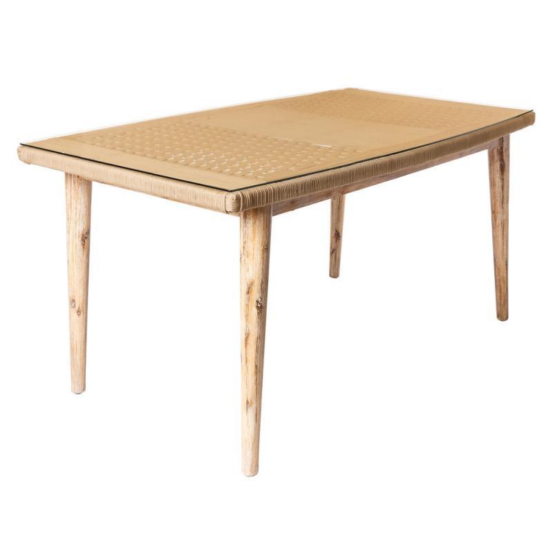 Table de repas en Corde beige/Bois/Verre - BIAK
