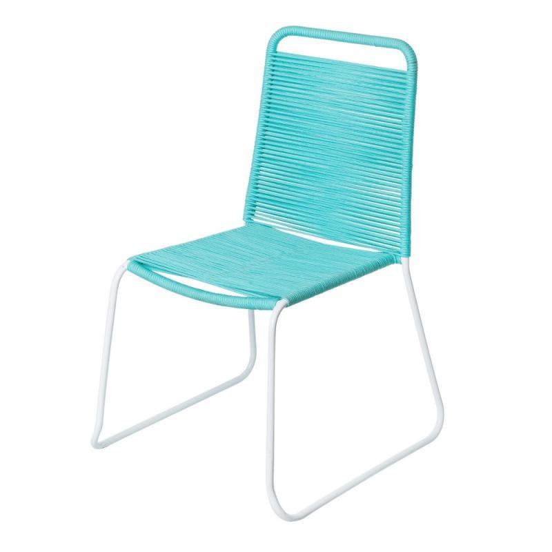 Chaise en Corde turquoise/Acier blanc - WETAR