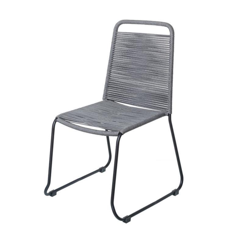 Chaise en Corde grise/Acier noir - WETAR