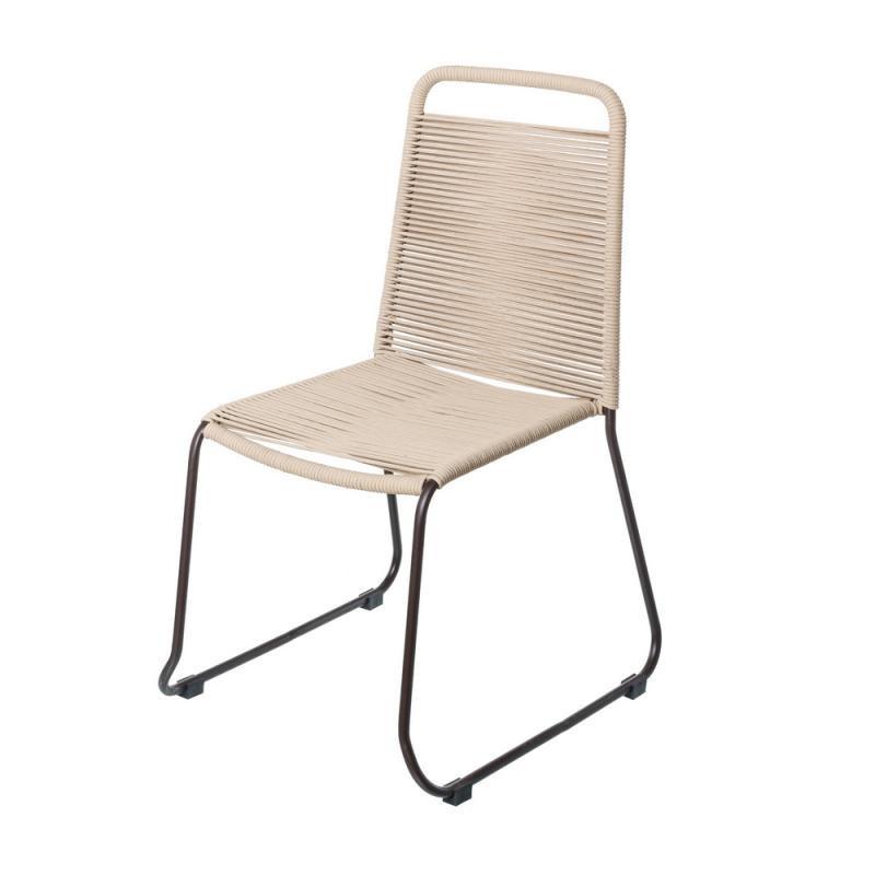 Chaise en Corde beige/Acier noir - WETAR