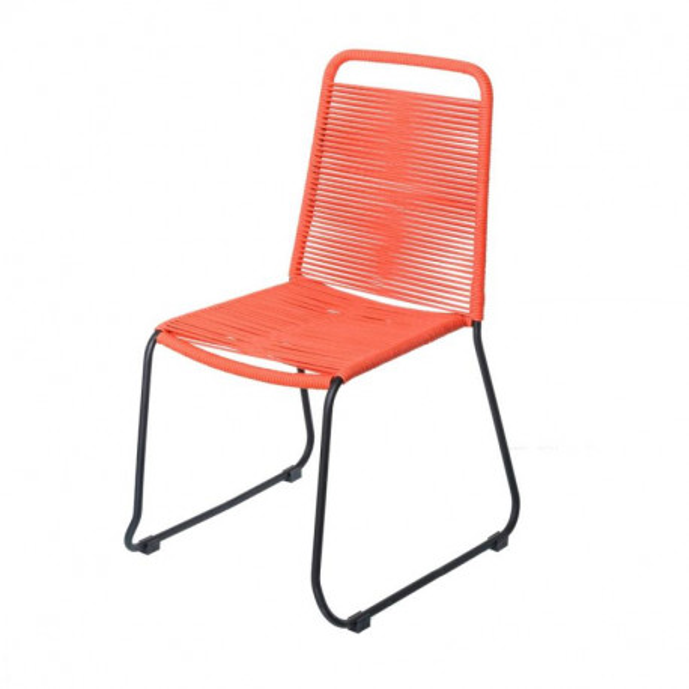 Chaise en Corde rouge/Acier noir - WETAR
