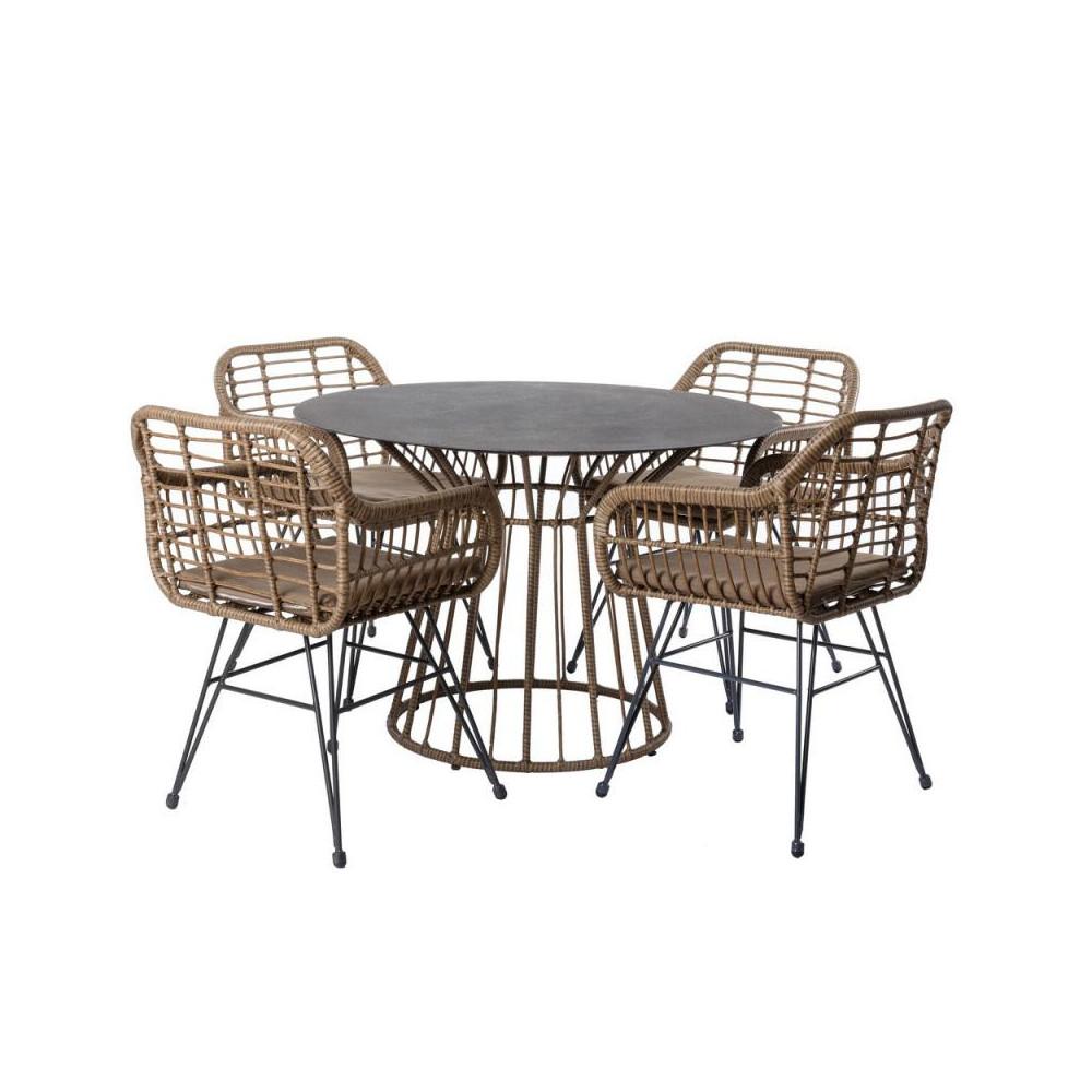 Ensemble Table ronde & Chaises en Rotin/Acier - MAKIAN