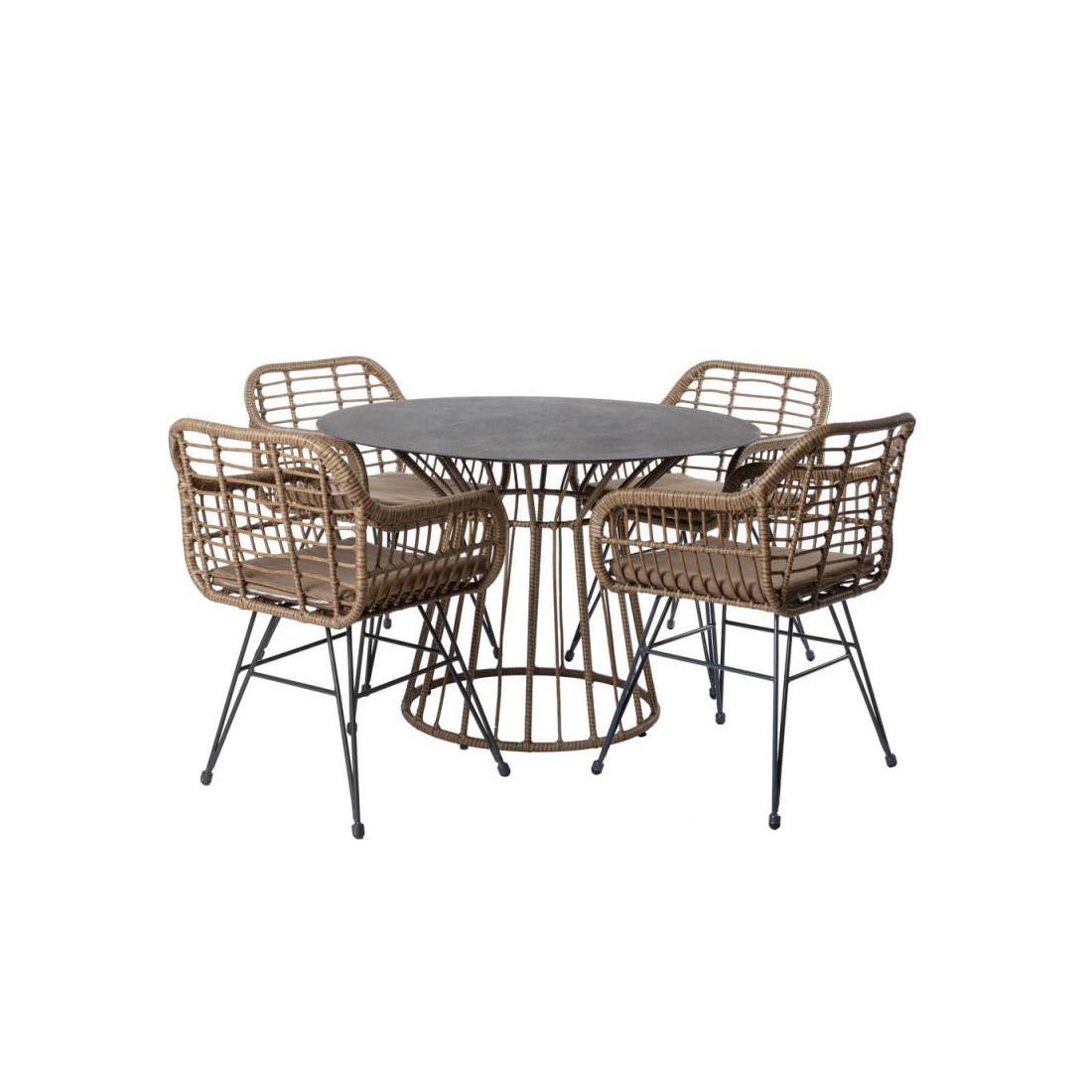Ensemble Table ronde & Chaises Rotin/Acier MAKIAN - Univers ...