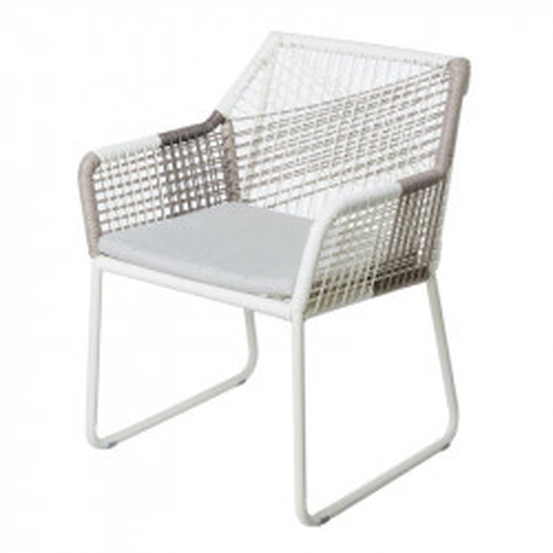 Chaise à accoudoirs Blanc/Gris - TERNATE