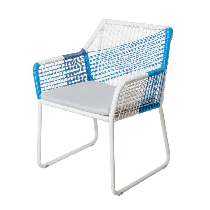 Chaise à accoudoirs Blanc/Bleu - TERNATE