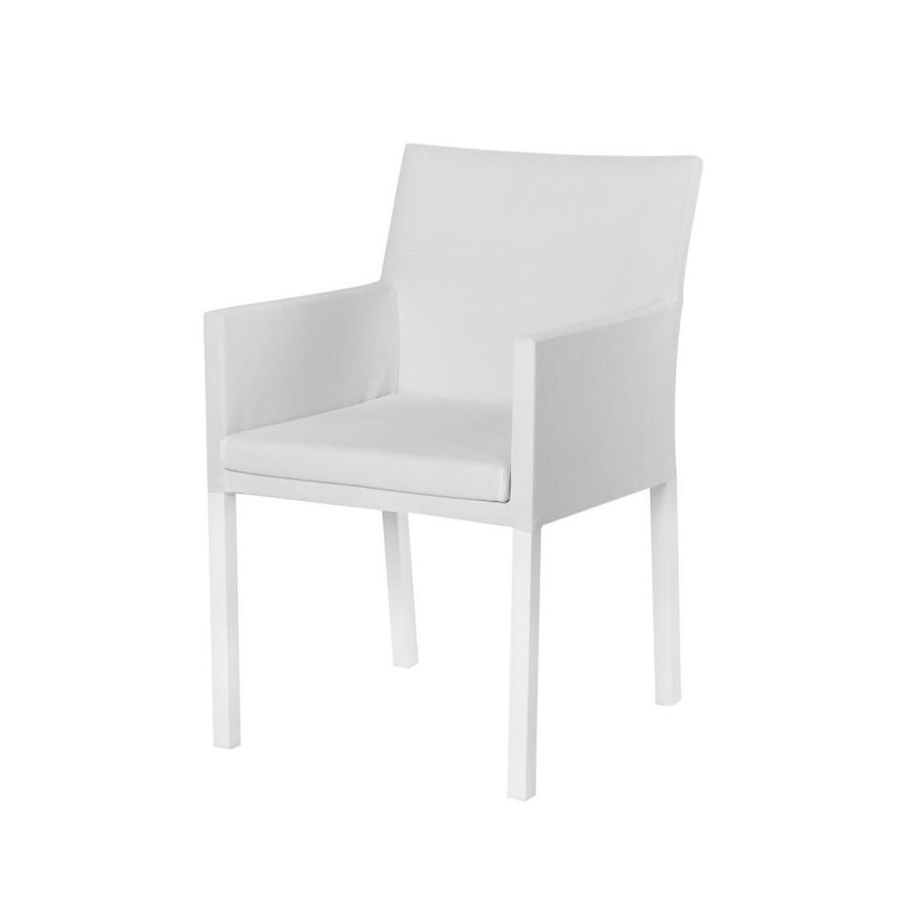 Chaise à accoudoirs Tissu blanc/Aluminium - BELITUNG
