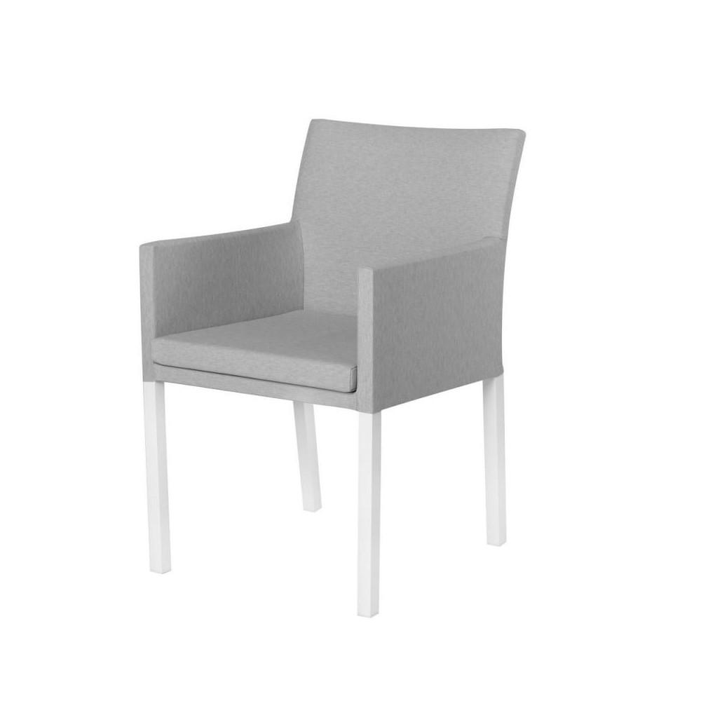 Chaise à accoudoirs Tissu gris/Aluminium - BELITUNG