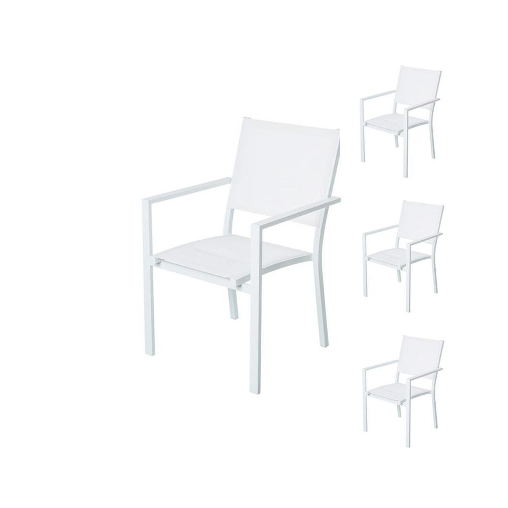 Quatuor de Chaises Textilène/Métal blanc - TUBUAI
