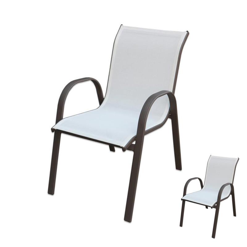 Duo de Chaises Textilène blanc/Acier - TIKEHAU