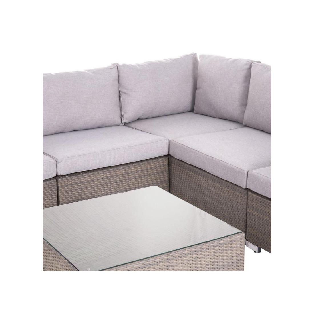 canap d 39 ext rieur 2 places rotin taupe baros univers du jardin. Black Bedroom Furniture Sets. Home Design Ideas