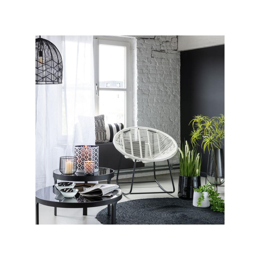 grand tapis rond en jute noir 150 150 dev univers de la. Black Bedroom Furniture Sets. Home Design Ideas