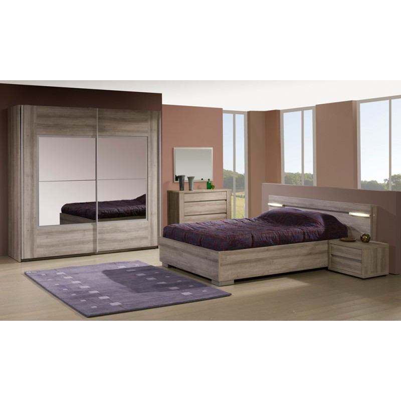Chambre adulte compl te 160 200 vita univers chambre for Exemple de chambre adulte