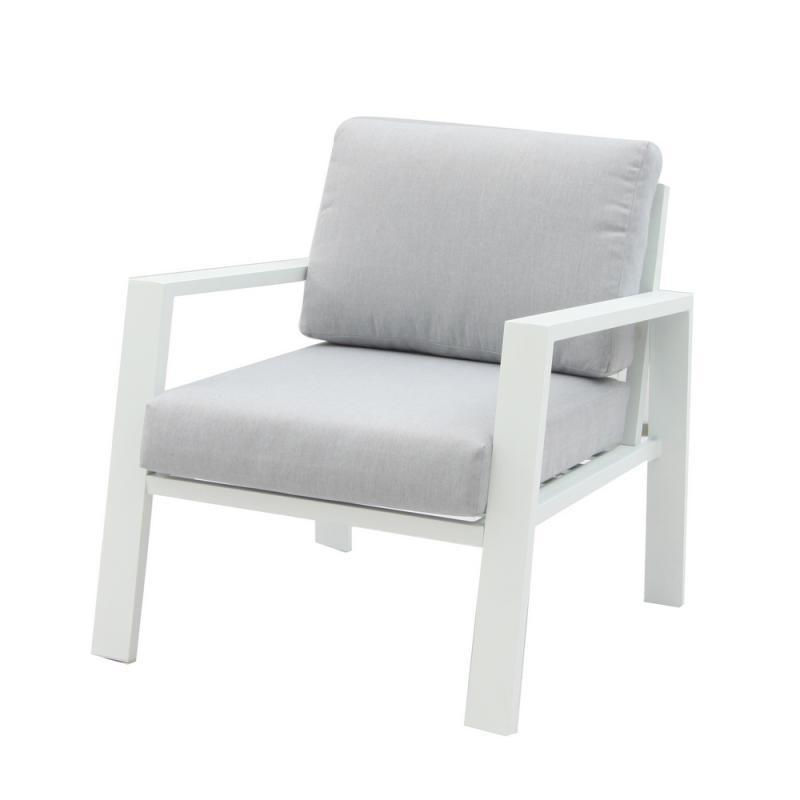 Fauteuil d'extérieur Aluminium Blanc/Gris - VADO