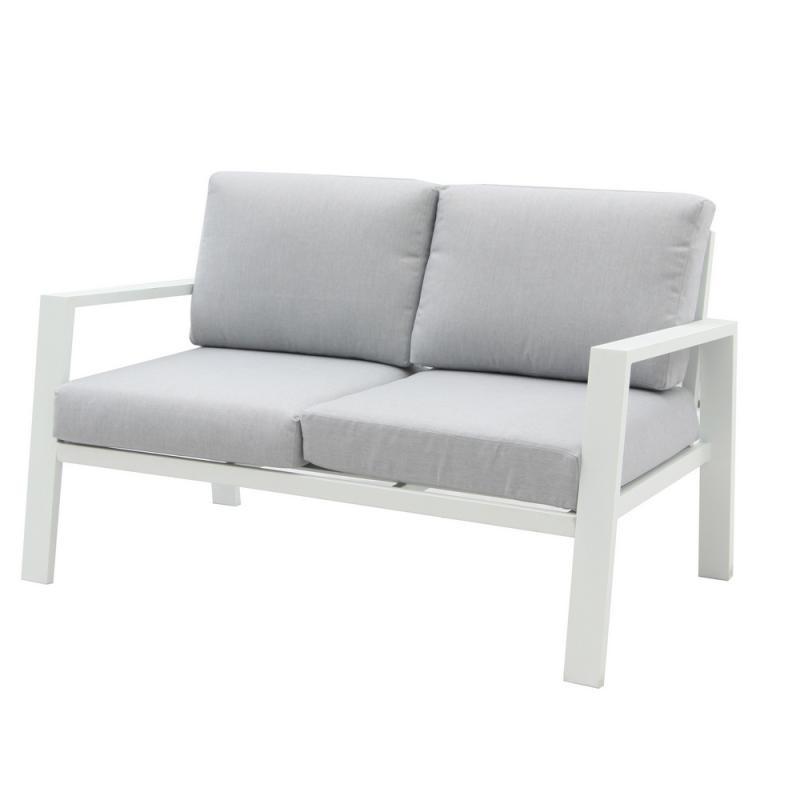 Canapé 2 places d'extérieur Aluminium Blanc/Gris - VADO