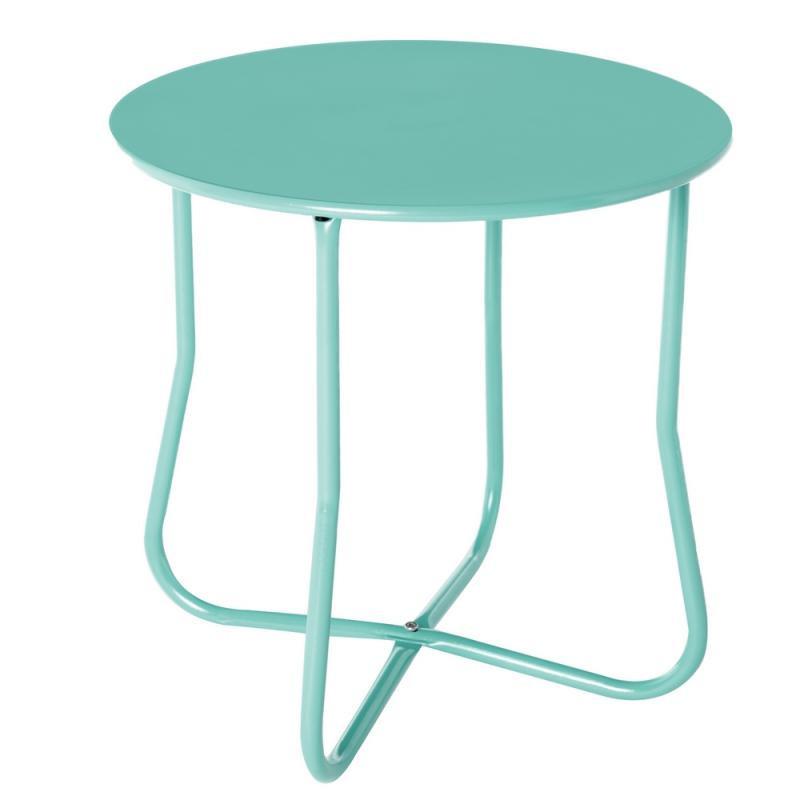 Table d'appoint extérieur Acier Turquoise bleu - Univers Jardin : Tousmesmeubles