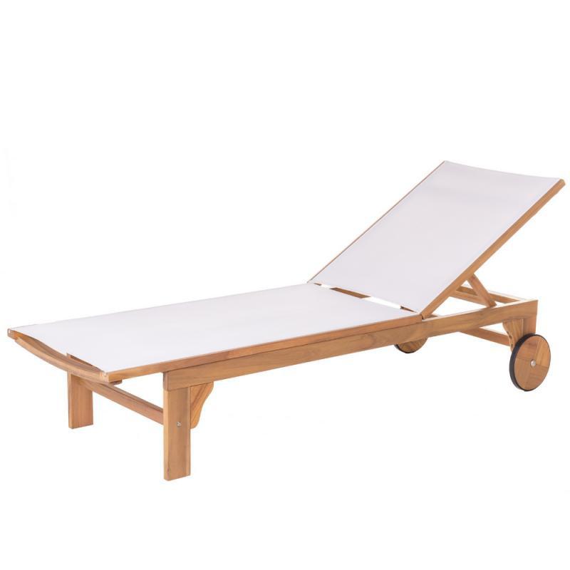 Bain de soleil Bois d'acacia/Textilène Blanc - OLUVELI