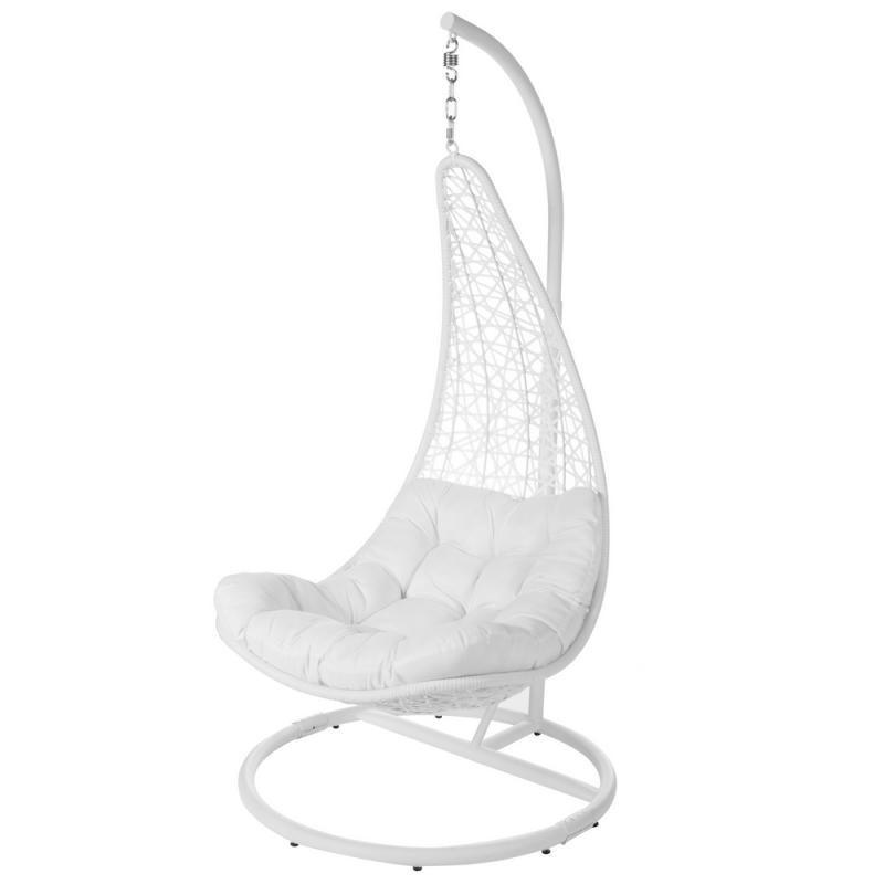 Chaise suspendue Acier/Rotin Blanc - AVATORU n°1