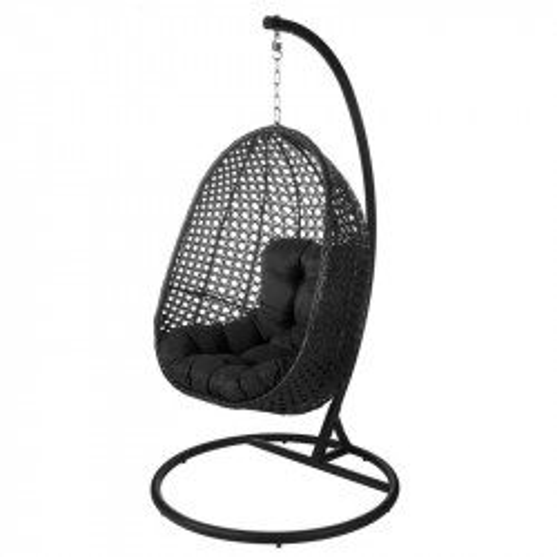 Chaise suspendue Acier/Rotin Noir - AVATORU n°2