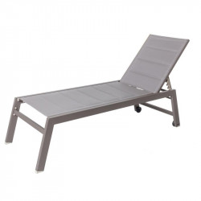 Bain de soleil Aluminium/Textilène Gris - FLORES