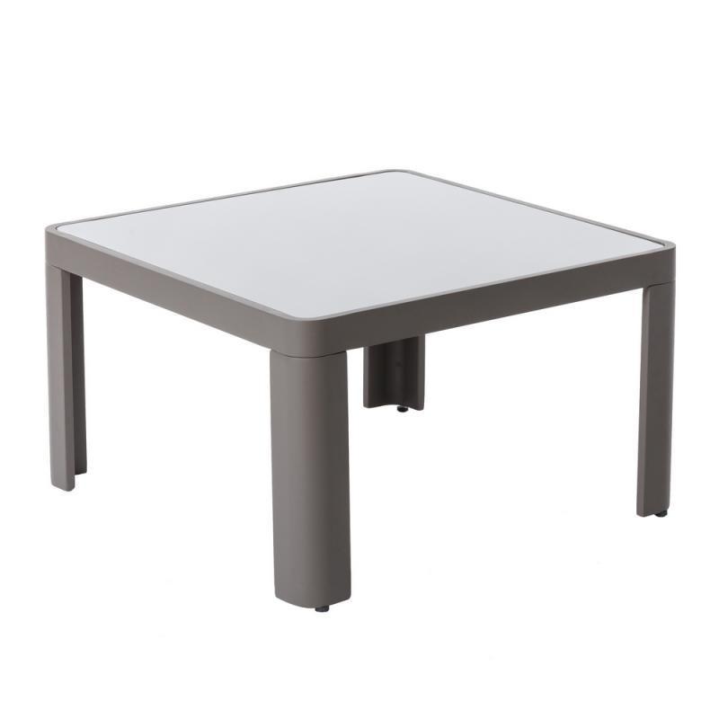 Table basse d'extérieur Aluminium/Verre Gris - FLORES