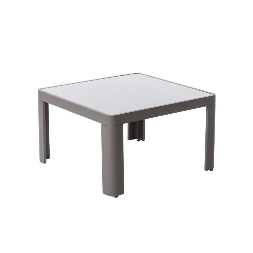 Table basse d'extérieur Aluminium/Verre Gris FLORES - Univers Jardin : Tousmesmeubles