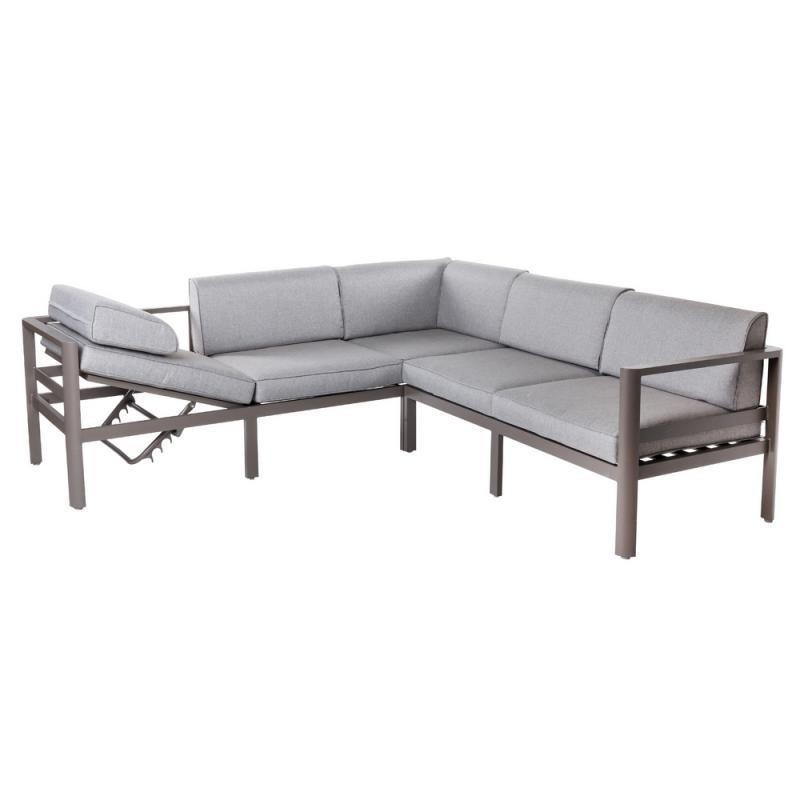 Canapé d'angle d'extérieur Aluminium Gris - FLORES